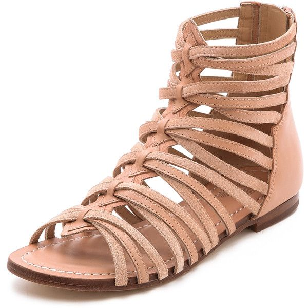 Belle By Sigerson Morrison Alpina Suede Gladiator Sandals -... ($68) ❤ liked on Polyvore featuring shoes, sandals, flats, flats sandals, stacked heel sandals, anchor shoes, gladiator sandals flats and suede flats