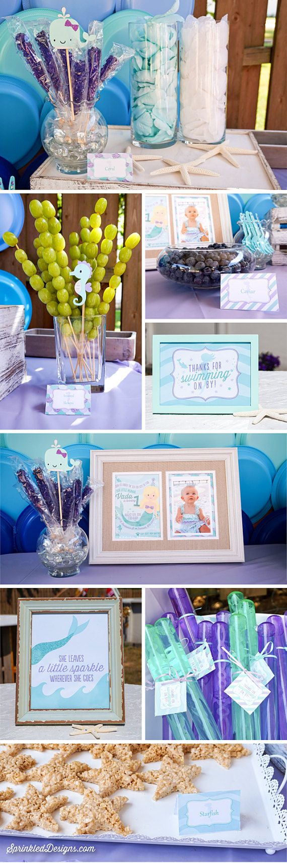 Mermaid Party Decorations - Printable Water Bottle Labels - Drink Wraps - Mermaid Decor, Mermaid Birthday Under the Sea Party Decorations by SprinkledDesigns.com
