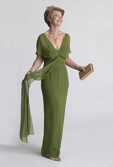Brides: Mother-of-the-Bride Dress  Grecian-inspired gown in green.  Silk crepe and chiffon dress, $495, Chetta B, Neiman Marcus