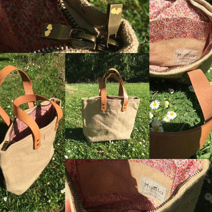 Original Maela / Yute bag / Liberty fabric / Leather handles / www.maela.es