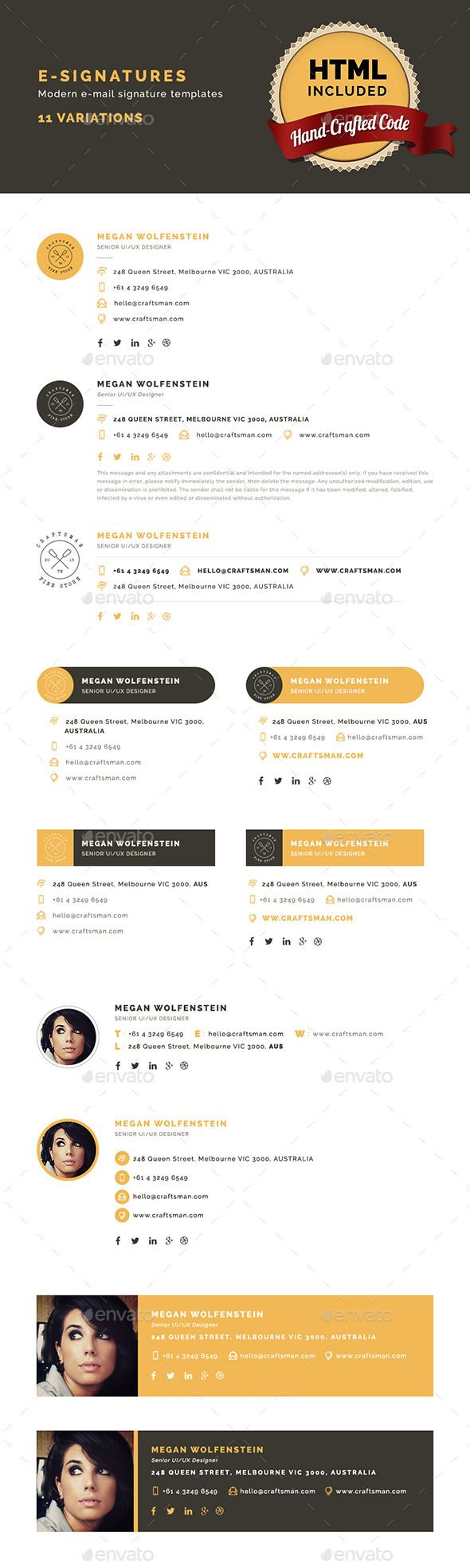 E-Signatures - Modern E-mail Signature Design Templates - Web Element Design Template PSD. Download here: https://graphicriver.net/item/esignatures-modern-email-signature-templates/10199109?ref=yinkira