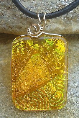 Fused Glass Wire Wrapped Dichroic Pendant Jewelry by Firefly Glass Art | eBay