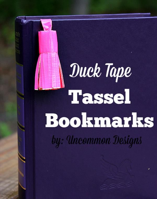 Adorable little bookmark you just take a piece of duck tape and you cute little lines in the bottom roll it up and add a piece of duck tape for the piece that goes into the book. So simple and so cute I'm so going to make this sometime!!
