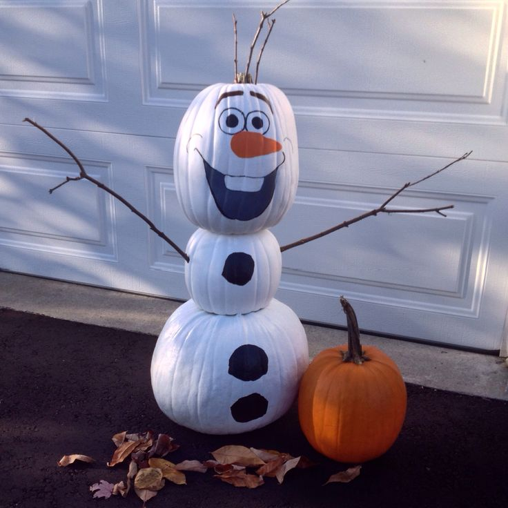My Olaf painted pumpkin. Halloween. Elsa. Anna.