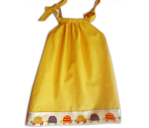 Girl's Yellow Tortoise Dress / Children's by WithHugsandKisses