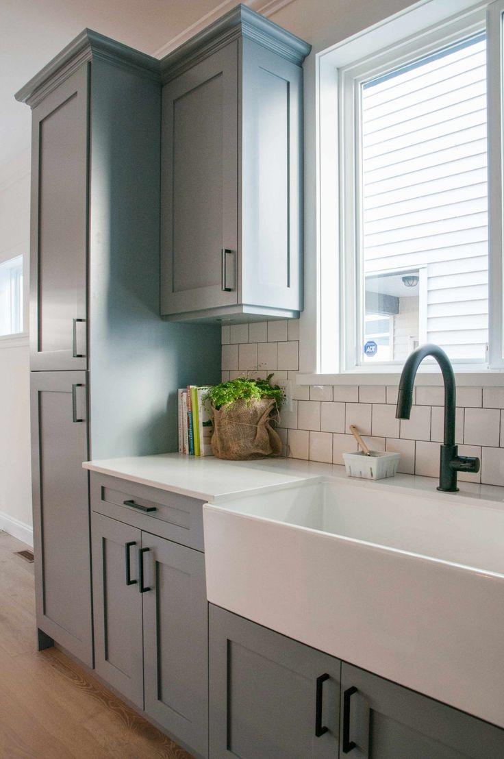 Designer Perfect Kitchen     #cabinets #kitchen #BenjaminMooreDeepSilver #BM2124-30 #graycabinets #whitecounters #whitebacksplash #whiterockbc