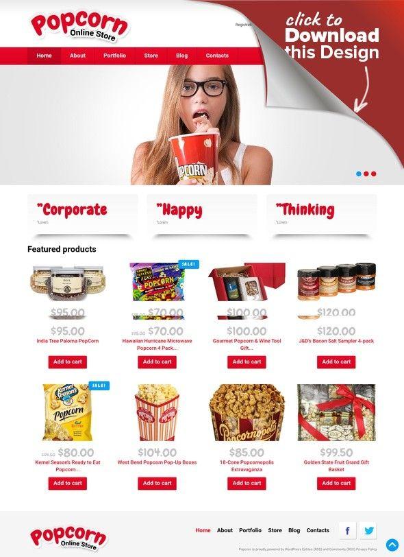 Popcorn Online Store WooCommerce Theme E-commerce Templates, WooCommerce Themes, Food & Restaurant, Food & Drink Templates, Food Store Templates