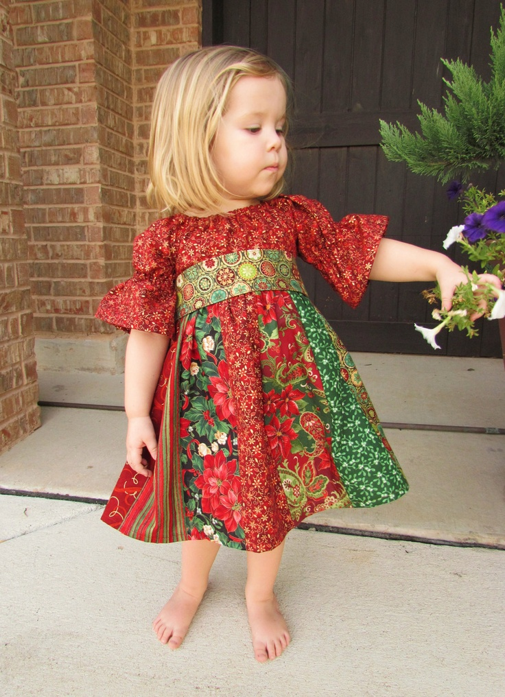Child's stripwork peasant dress for Christmas. Girls Christmas dress in sizes 12 month, 2t, 3t, 4t. $39.00, via Etsy.