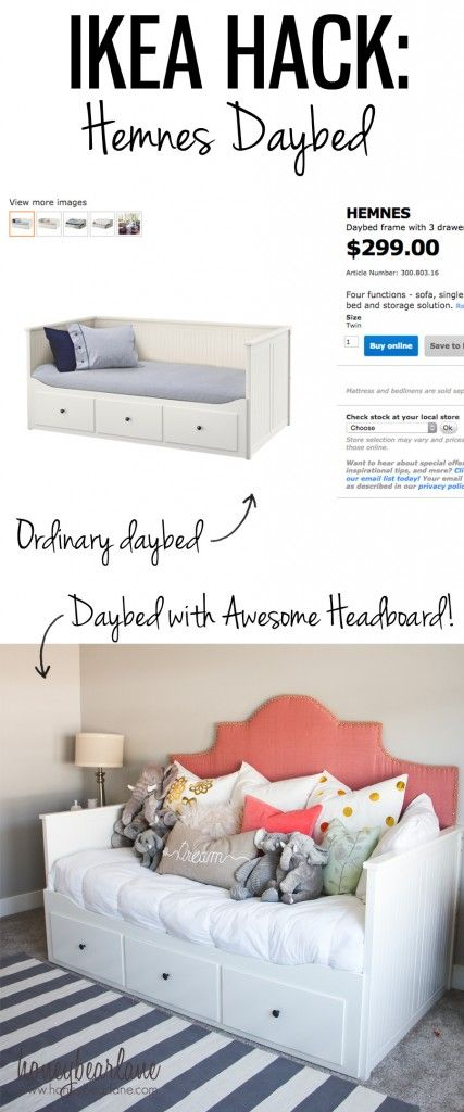 hemnes daybed ikea hack. I love the idea of a daybed as a couch for comfort & guests when they sleep over
