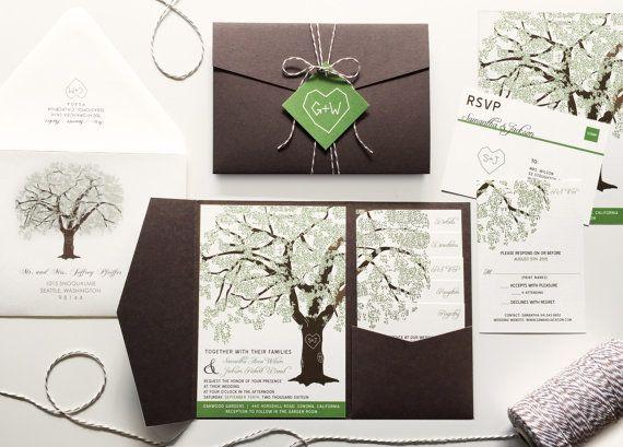 PRINTABLE Grandfather Oak Tree Wedding Invitations by vohandmade