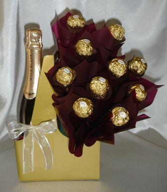 Wine Bottle Candy Bouquet | WINE & CHOCOLATE BOUQUET