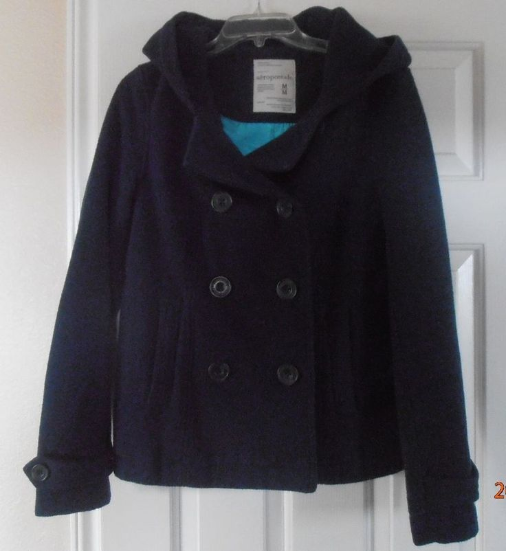 Aeropostale Wool Peacoat with Hood Size M Keep you warm Be ready for Winter #Aropostale #Peacoat