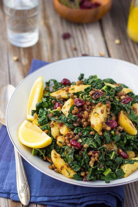 Warm Lentil, Kale & Potato Salad with Lemon Dijon Dressing.  Gluten free, vegan, and so satisfying!