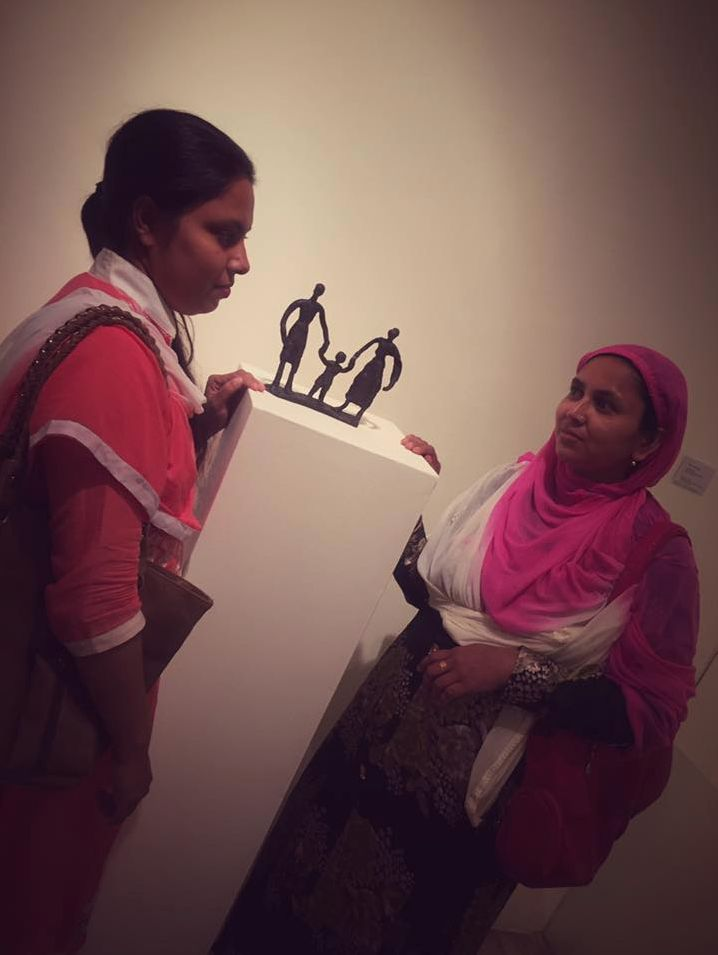 """Wings of hope (2016). """"we celebrated the art works by 36 raana plaza survivors. With 8 Shako Artists.These resiliant women were given a chance to start a new chapter, the money raised from the exhibition will go towards setting up their own factory - an initiative supported by Fashion Revolution Bangladesh, Bengal Art lounge and initiated by 3 Nordic embassies: Denmark, Norway and Sweden, Meena, Shako , Dhamrai Metal Craft and Arjo Cholochitro Foundation."""""""