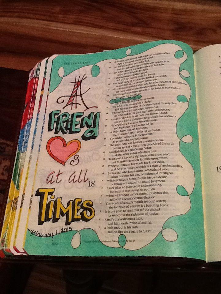 Proverbs 17:17. Sherrie Bronniman - Art Journaling: In My Bible