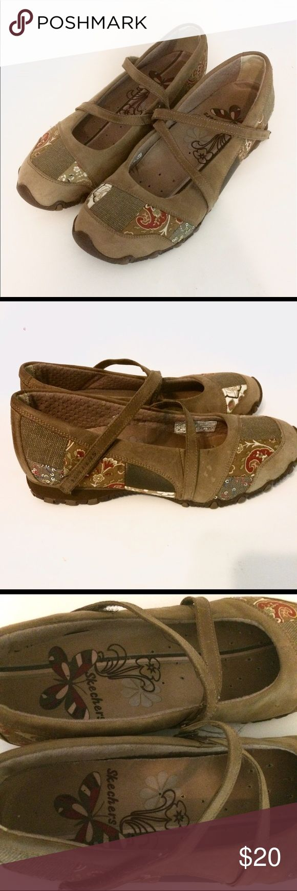 NEW! Cute Skechers Mary Janes Features suede and cross strap Velcro closure.  Super cute Boho floral pattern and very comfortable! NWOT Skechers Shoes Sandals