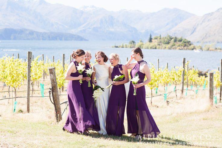 Wedding photos amongst the vines at Rippon Vineyard, New Zealand