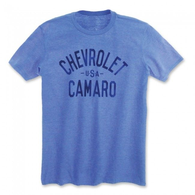 Chevrolet USA Camaro Tee - Heather Royal  The name says it all. Straight-forward and boldly printed on these brightly colored tees. 65% polyester/35% cotton. Imported.  SKU: SM2-MT267