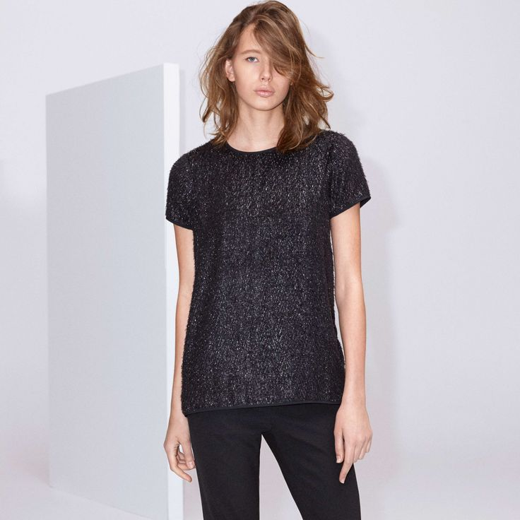 FWSS No No No is a loose-fit top in a texturized, glittering silk mix with slits in the side seams.