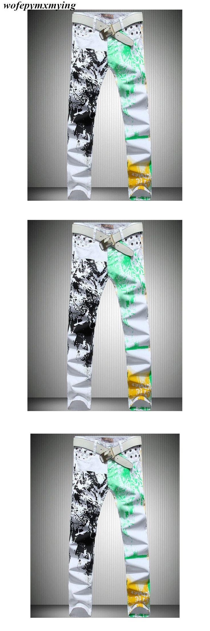 design funky jeans for men plus size 44 46 vintage printing custom skinny fit denim jeans pants cheap clothes mens printed jeans