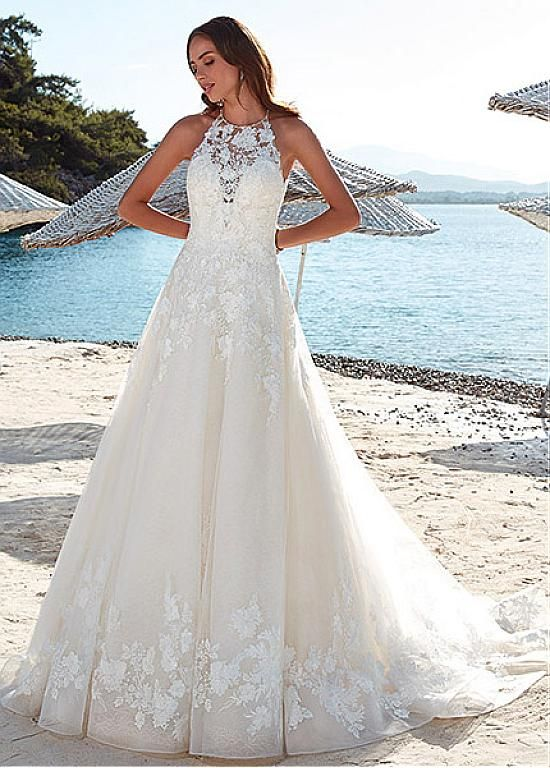Fabulous Tulle Halter Neckline Cut-out Back A-Line Wedding Dress With Lace Appli…