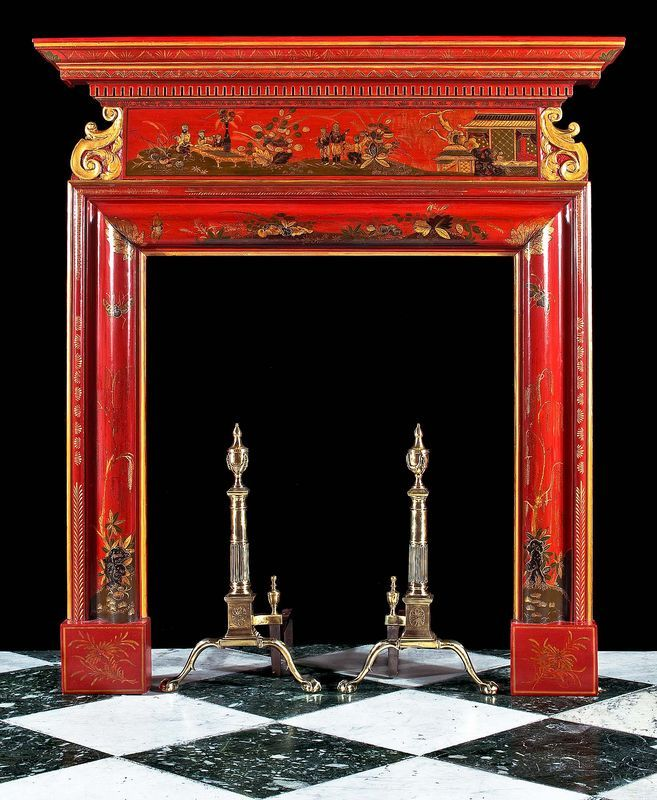 Neo Classical Chinoiserie red lacquered chimneypiece. English, circa 1820...  From...  http://elogedelart.canalblog.com/archives/2009/05/23/index.html