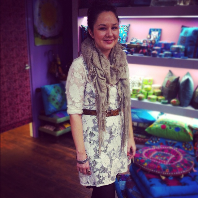 The lovely Krystle with a lovely cream flower shift, teamed with a new winter scarf.