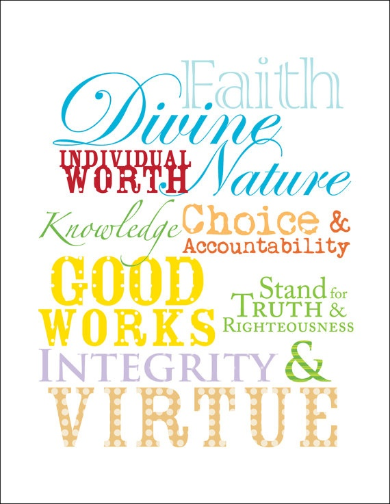 values printable