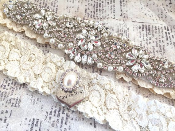 Crystal Garter Set Vintage Wedding Garter Set by TheRaggedDiamond