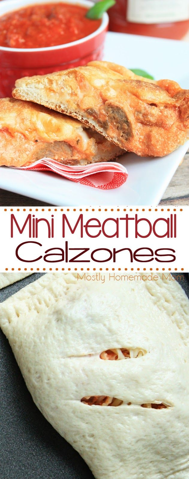 Mini Meatball Calzones - These homemade calzones are SO EASY to make any night of the week with premade pizza dough and Classico Riserva sauce! #ad (Homemade Italian Recipes)
