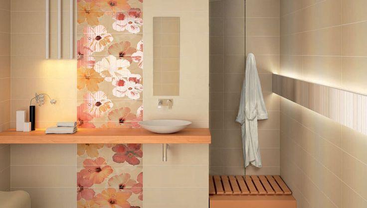 Ambientes decoraci n ba o cer mico azulejos y baldosas en color beige y piezas decorativas de - Baldosas para banos modernos ...