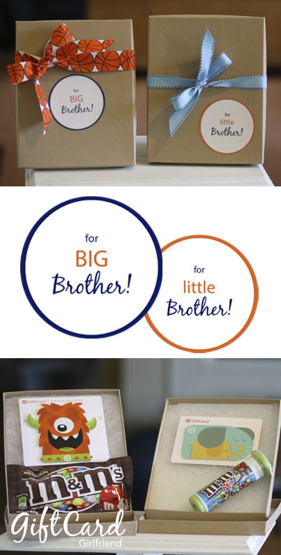 Big Brother Little Brother Gift Card Tags Free