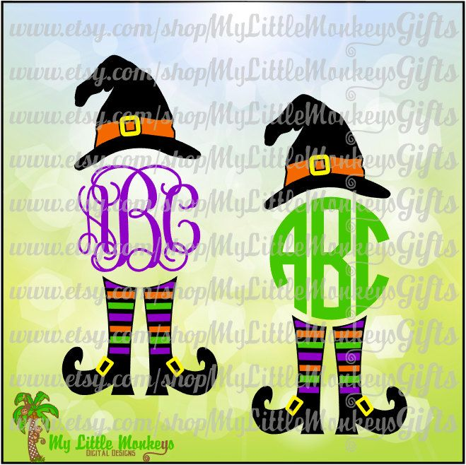 witchy poo witch hat legs monogram base halloween design digital clipart and cut file jpeg png