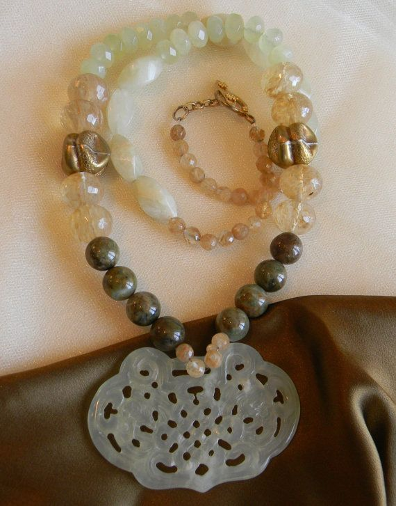 Jade infinity knot large pendant w opal & faceted jade beads necklace