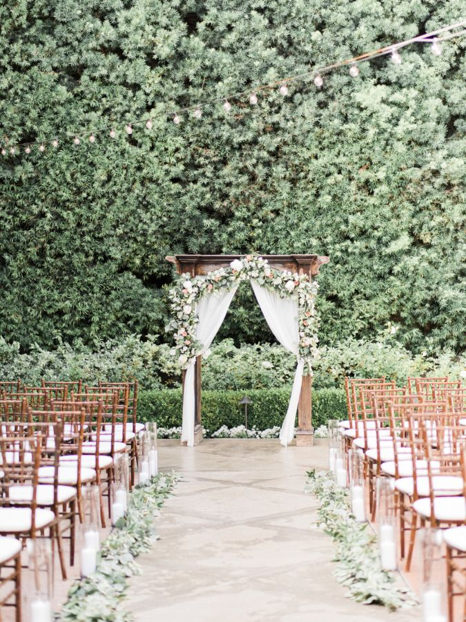 Outdoor garden ceremony: http://www.stylemepretty.com/2016/09/17/all-white-franciscan-gardens-wedding/ Photography: Ether and Smith - http://etherandsmith.com/