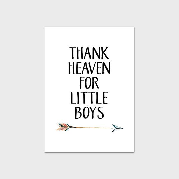 Nursery Print 5x7 Instant Download Nursery Quote Thank Heaven For Little Boys Tribal Nursery Print Tribal Arrow Print Boy Nursery Printable by MossAndTwigPrints on Etsy