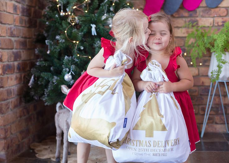 Petite Vintage Interiors daughters with our Cabin Co Santa Sacks
