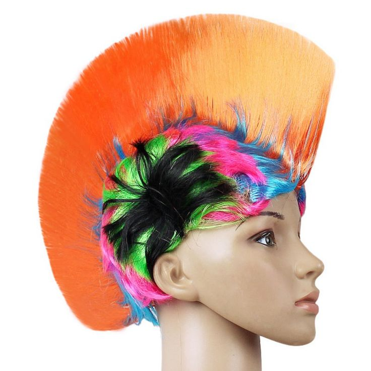 Rainbow Mohawk Hair Wig Rooster Fancy Costume Punk Rock Halloween Party Decor #Affiliate