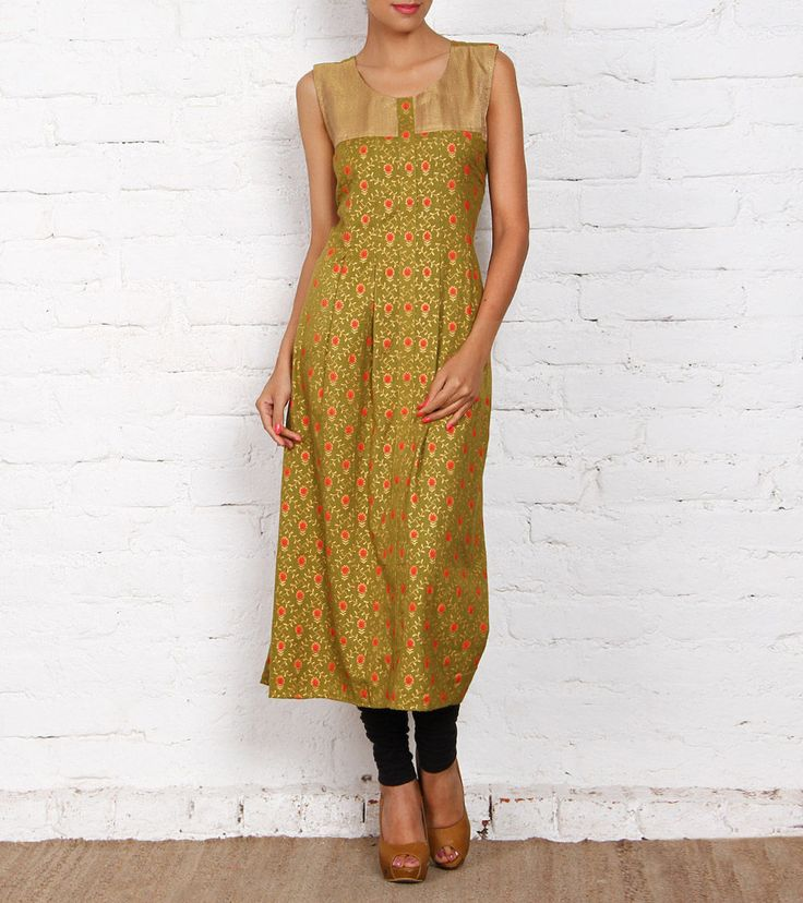 Green Printed Linen Kurta
