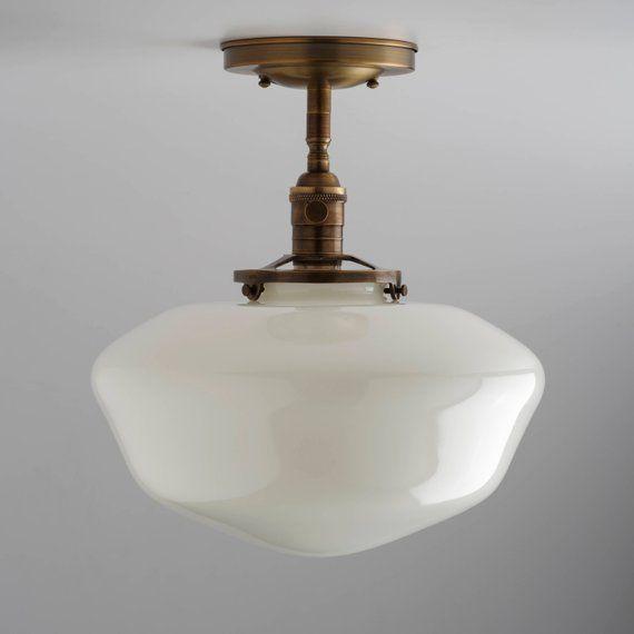 Large 12 White Glass Schoolhouse Style Shade Flush Mount Etsy Kitchen Lighting Fixtures Craftsman Lighting Farmhouse Light Fixtures