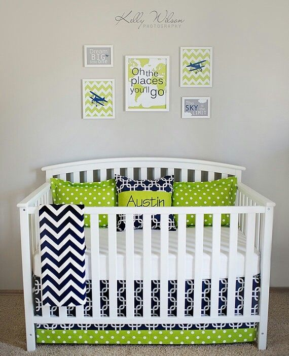 Crib Bedding Set Navy Lime Green By Leahashleyokc