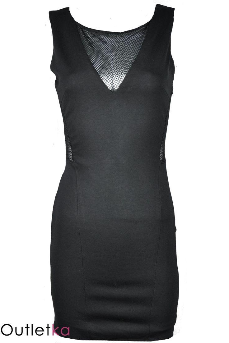 Nowa sukienka firmy Zara, w kolorze czarnym. Sukienka elegancka, o ciekawym i oryginalnym wyglądzie. Dekolt w kształcie litery V. Z boku i na dekolcie posiada wycięcia pokryte siateczką. Plecy częściowo odkryte. Materiał rozciągliwy, dobrze dopasowujący się do sylwetki. Z tyłu zasuwana na kryty zamek. Posiada czarną podszewkę. Sukienka z kompletem firmowych metek.