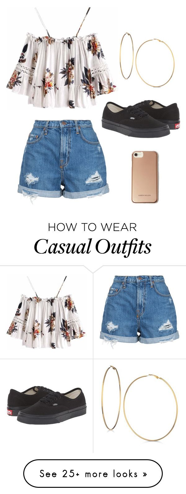 """""""Outfit ♡"""" by geovanacaroline on Polyvore featuring Nobody Denim, Vans, GUESS and Karen Millen"""