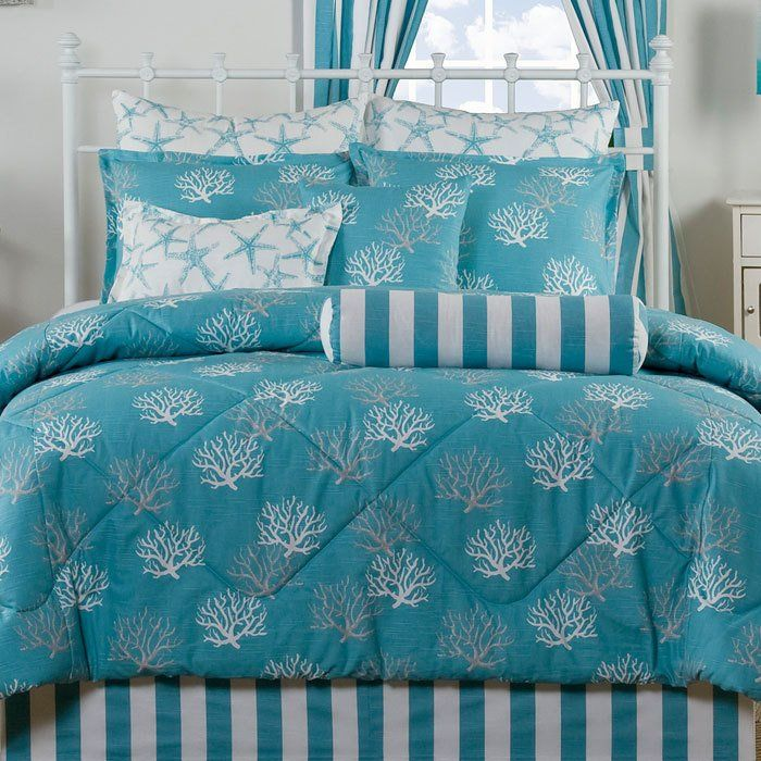 New Florida style coral bedspread.