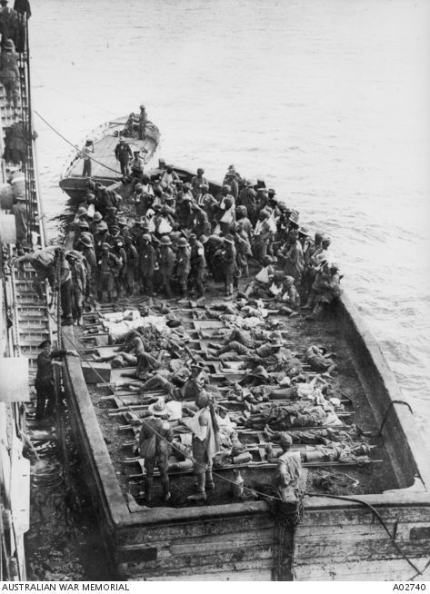 "transferring Injured to Hospital ship, ""Gascon"", Gallipoli"