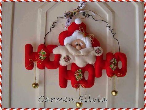 TEM  MOLDE     -Ateliê Maçã com Cravo: Guirlanda com Papai Noel ( com molde)