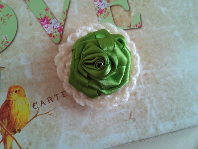 Jewellery Handmade Green Rose Brooch, Ribbon Flower To Wear, Clothes, Handbag £4.95
