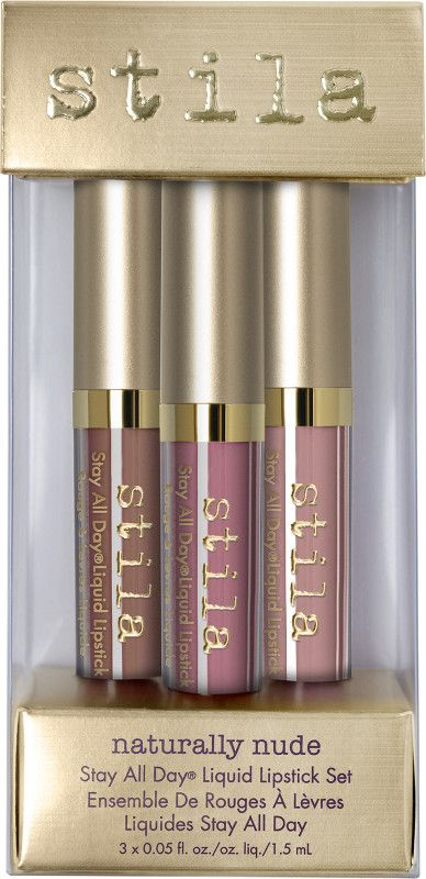 Light up lips in naturally nude hues. Stila's weightless, full-coverage, creamy matte lip colors stay put all day...and night. Set includes three deluxe Stay All Day Liquid Lipsticks in a mix of iconic and limited edition shades.