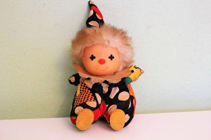Vintage Antique Clown Doll, Plush Soft Body, Vinyl Face by Grandchildattic on Etsy