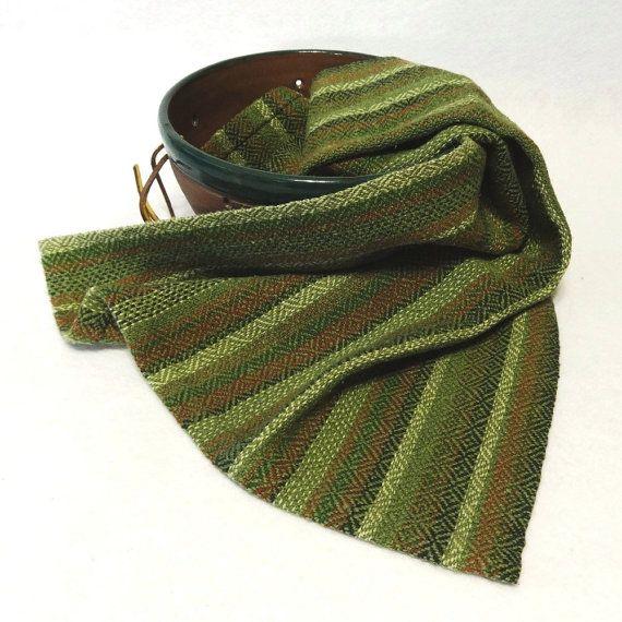 Handwoven Cotton/Linen Towel for Kitchen & Bath - Green Towel - Autumn Towel, Forest, Handtowel, Kitchen Towel, Handwoven Towel, Tea Towel